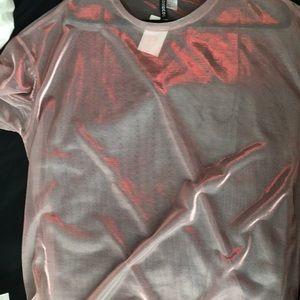Metallic translucent T-shirt. Size L, fits like 1X